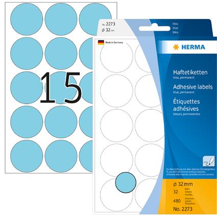 HERMA Markierungspunkte, Durchmesser: 32 mm, blau