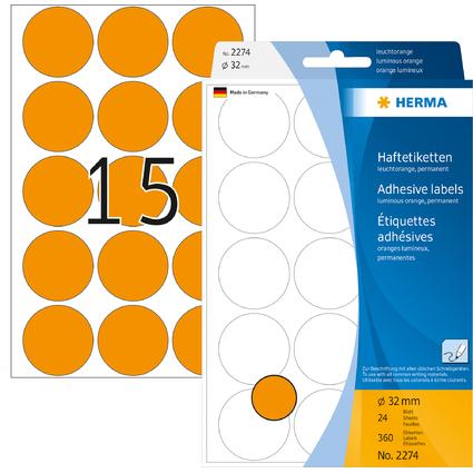 HERMA Markierungspunkte, Durchmesser: 32 mm, leuchtorange