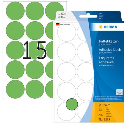 HERMA Markierungspunkte, Durchmesser: 32 mm, grün