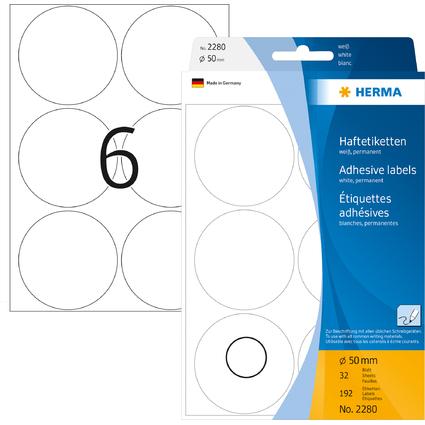 HERMA Markierungspunkte, Durchmesser: 50 mm, weiß