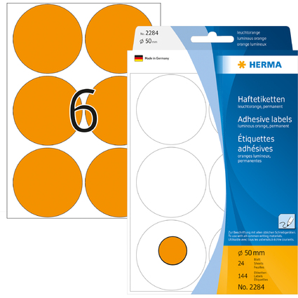 HERMA Markierungspunkte, Durchmesser: 50 mm, leuchtorange