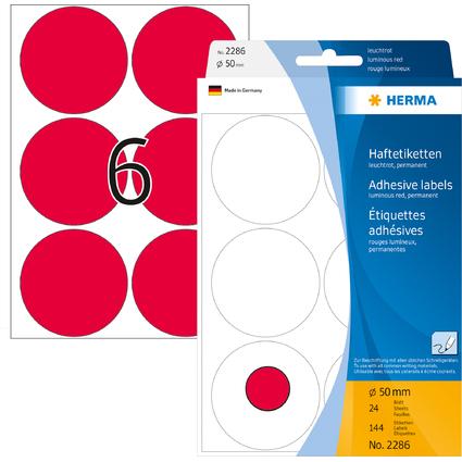 HERMA Markierungspunkte, Durchmesser: 50 mm, leuchtrot