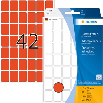 HERMA Vielzweck-Etiketten, 16 x 22 mm, rot, Großpackung