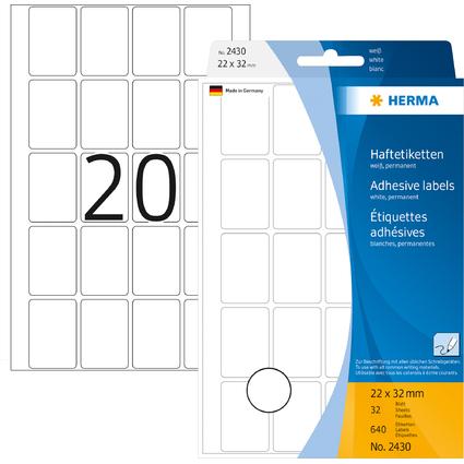 HERMA Vielzweck-Etiketten, 22 x 32 mm, weiß, Großpackung