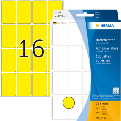 HERMA Vielzweck-Etiketten, 25 x 40 mm, gelb, Großpackung
