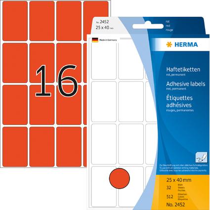 HERMA Vielzweck-Etiketten, 25 x 40 mm, rot, Großpackung