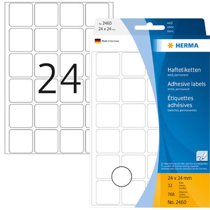 HERMA Vielzweck-Etiketten, 24 x 24 mm, weiß, Großpackung