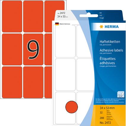 HERMA Vielzweck-Etiketten, 34 x 53 mm, rot, Großpackung