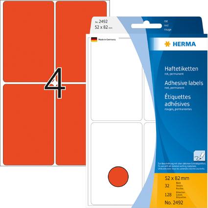 HERMA Vielzweck-Etiketten, 52 x 82 mm, rot, Großpackung