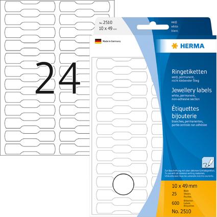 HERMA Ringetiketten, 10 x 49 mm, aus Halbkarton, weiß