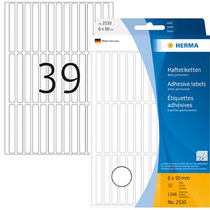 HERMA Vielzweck-Etiketten, 6 x 50 mm, weiß, Großpackung