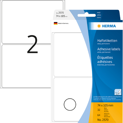 HERMA Vielzweck-Etiketten, 74 x 105 mm, weiß, Großpackung