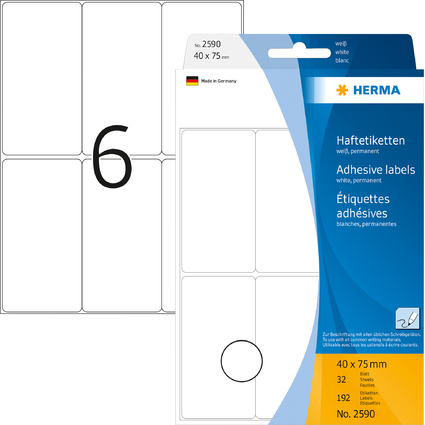 HERMA Vielzweck-Etiketten, 40 x 75 mm, weiß, Großpackung