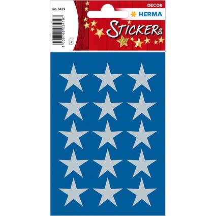 """HERMA Weihnachts-Sticker DECOR """"Sterne"""", 22 mm, silber"""