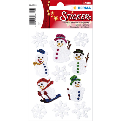 """HERMA Weihnachts-Sticker MAGIC """"Schneemänner"""", glittery"""