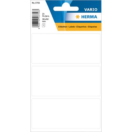 HERMA Vielzweck-Etiketten, 36 x 82 mm, weiß, Kleinpackung