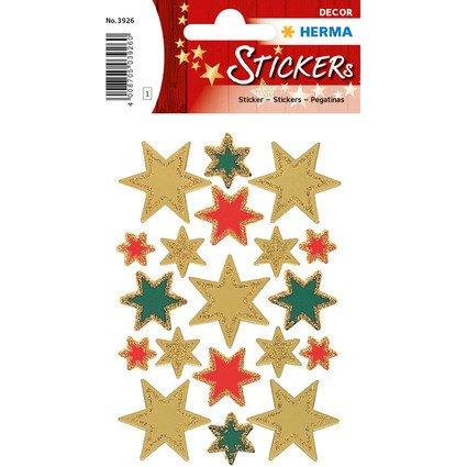 """HERMA Weihnachts-Sticker DECOR """"Sterne"""", sortiert, gold"""