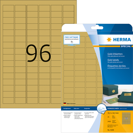 HERMA Folien-Etiketten SPECIAL, 30,5 x 16,9 mm, gold
