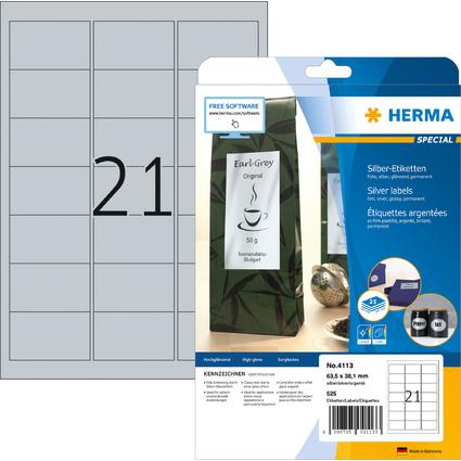 HERMA Folien-Etiketten SPECIAL, 63,5 x 38,1 mm, silber