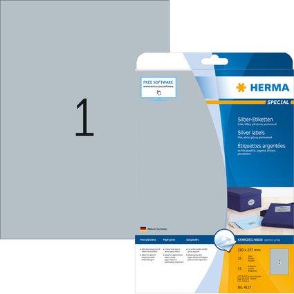 HERMA Folien-Etiketten SPECIAL, 210 x 297 mm, silber
