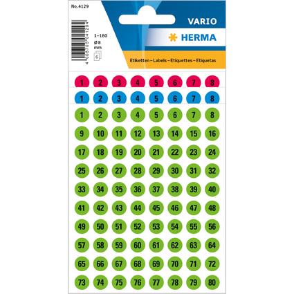 HERMA Zahlen-Sticker 1-160, Durchmesser: 8 mm, farbig