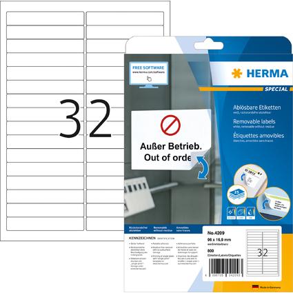 HERMA Universal-Etiketten SPECIAL, 96 x 16,9 mm, weiß