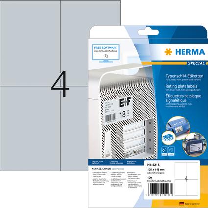 HERMA Typenschild-Etiketten SPECIAL, 105 x 148 mm, silber