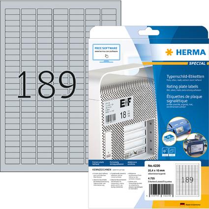 HERMA Typenschild-Etiketten SPECIAL, 25,4 x 10 mm, silber