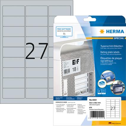 HERMA Typenschild-Etiketten SPECIAL, 63,5 x 29,6 mm, silber