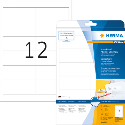 HERMA Korrektur-/Abdeck-Etiketten SPECIAL, 97,0 x 42,3 mm