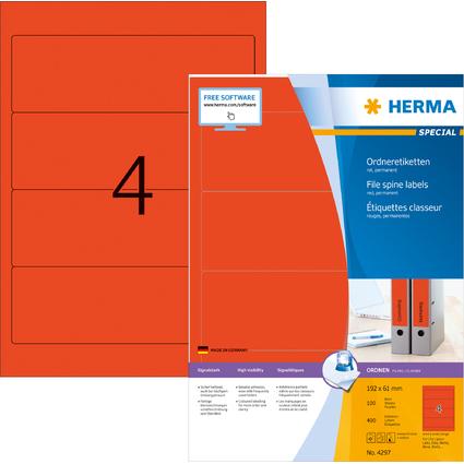 HERMA Ordnerrücken-Etiketten SPECIAL, 192,0 x 61,0 mm, rot