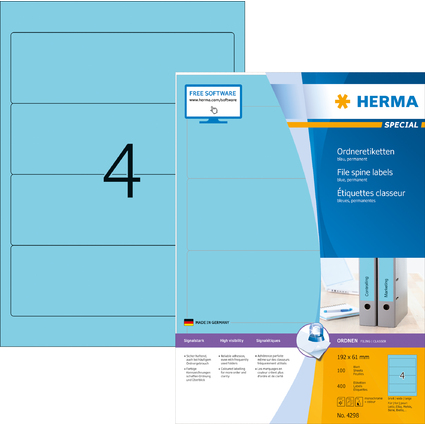 HERMA Ordnerrücken-Etiketten SPECIAL, 192,0 x 61,0 mm, blau