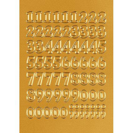 HERMA Zahlen-Sticker 0-9, Folie gold, Zahlen geprägt
