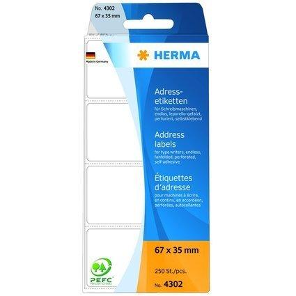 HERMA Adress-Etiketten, 67 x 35 mm, Leporello gefalzt, weiß