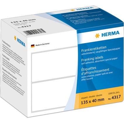 HERMA Frankier-Etiketten, 135 x 40 mm, doppelt, weiß