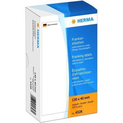 HERMA Frankier-Etiketten, 130 x 40 mm, doppelt, weiß