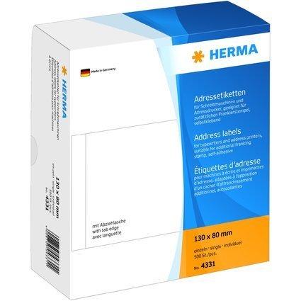 HERMA Adress-Etiketten, 130 x 80 mm, einzeln, weiß