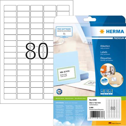 HERMA Universal-Etiketten PREMIUM, 35,6 x 16,9 mm, weiß