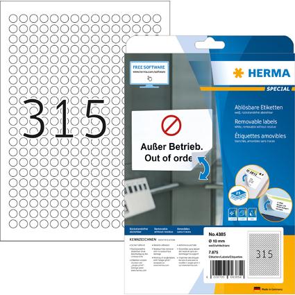 HERMA Universal-Etiketten SPECIAL, Durchmesser 10 mm, weiß
