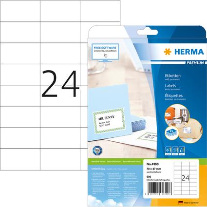 HERMA Universal-Etiketten PREMIUM, 70 x 37 mm, weiß