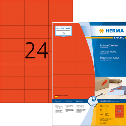 HERMA Universal-Etiketten SPECIAL, 70 x 37 mm, rot