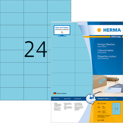HERMA Universal-Etiketten SPECIAL, 70 x 37 mm, blau