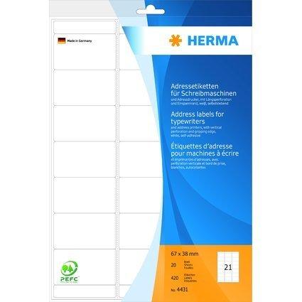 HERMA Adress-Etiketten, 67 x 38 mm, Ecken abgerundet, weiß