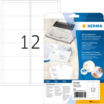 HERMA Adress-Etiketten, 94 x 47 mm, Ecken abgerundet, weiß