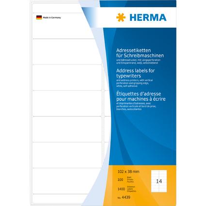 HERMA Adressetiketten für Schreibmaschinen, 102 x 38 mm
