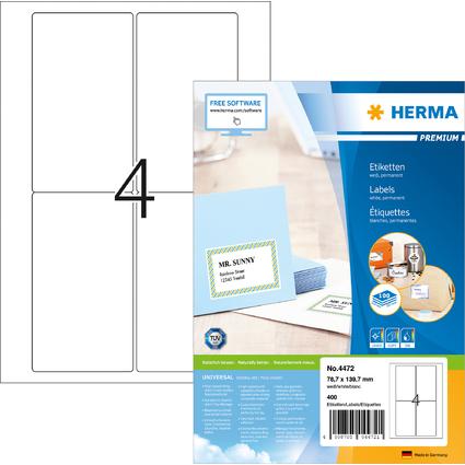HERMA Universal-Etiketten PREMIUM, 78,7 x 139,7 mm, weiß