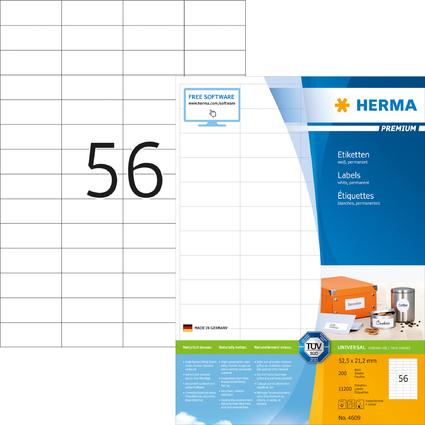 HERMA Universal-Etiketten PREMIUM, 52,5 x 21,2 mm, weiß