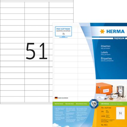 HERMA SuperPrint Etiketten, 70 x 16,9 mm, ohne Rand, weiß