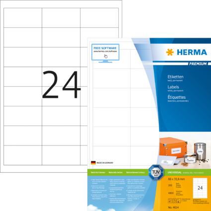 HERMA Universal-Etiketten PREMIUM, 66 x 33,8 mm, weiß