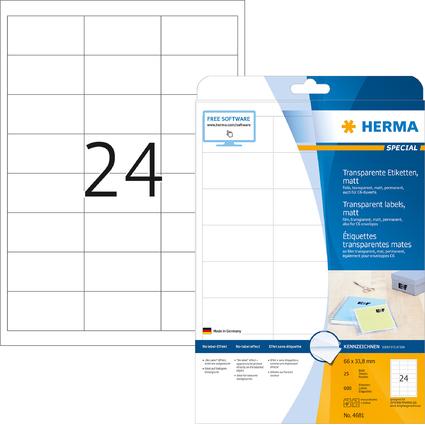 HERMA Folien-Etiketten SPECIAL, 66 x 33,8 mm, transparent